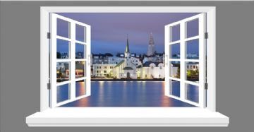 Reykjavik , capital city of Iceland skyline 3D Window view, wall art sticker